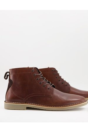 ASOS Desert boots in tan leather with suede detail-Brown