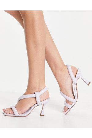 ASOS Hanson padded mid heeled sandals in lilac-Purple