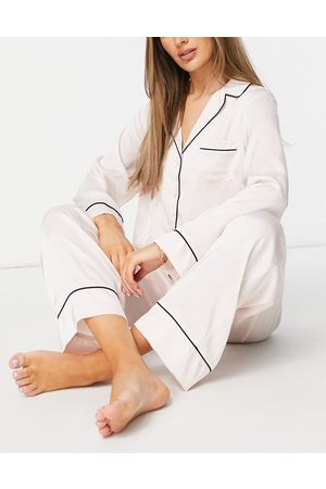 ASOS Satin long sleeve shirt & trouser pyjama set in pink-White