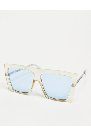ASOS Recycled frame oversized visor sunglasses with chain metal arms in crystal yellow
