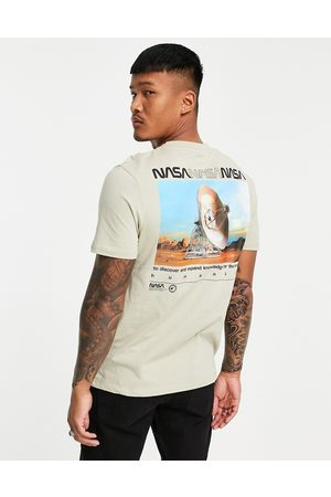ASOS Nasa t-shirt with multi print in stone-Neutral