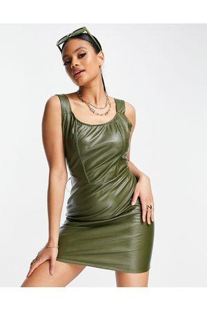 NaaNaa PU bodycon mini dress in khaki-Green