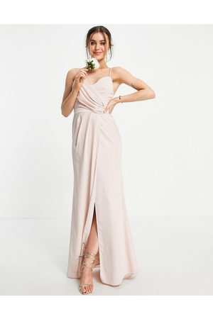 ASOS Ženy Maxi - Bridesmaid drape cami maxi dress with pleated skirt in blush-Pink