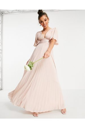 ASOS Bridesmaid pleated flutter sleeve maxi dress with satin wrap waist-Pink