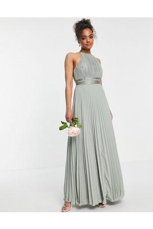 ASOS DESIGN Bridesmaid pleated pinny maxi dress with satin wrap waist-Green