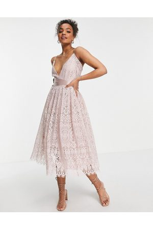 ASOS Lace prom dress with wrap waist detail-Pink