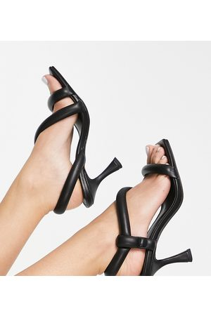 ASOS DESIGN Wide Fit Hanson padded mid heeled sandals in black