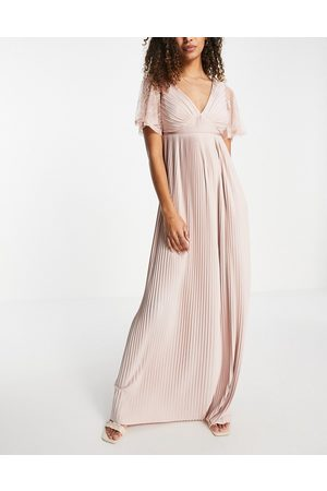 ASOS Ženy Maxi - Pleated maxi dress with belt & lace sleeves in dusky pink