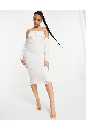 ASOS Ženy Pouzdrové - Cold shoulder sequin midi pencil dress in white