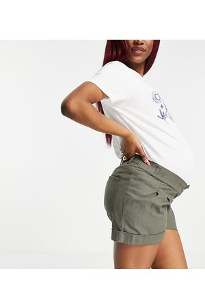 ASOS ASOS DESIGN Maternity pleat front linen wide leg short in khaki with under the bump band-Green