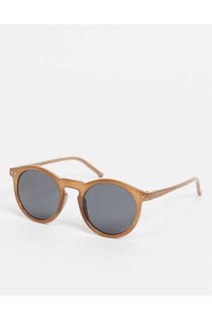 ASOS Round sunglasses with brown frame and smoke lens