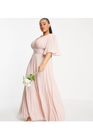 ASOS DESIGN Curve Bridesmaid pleated flutter sleeve maxi dress with satin wrap waist-Pink