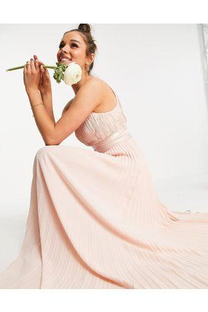 ASOS DESIGN Bridesmaid pleated pinny maxi dress with satin wrap waist-Pink