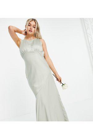 ASOS ASOS DESIGN Petite Bridesmaid cowl back satin maxi dress with button side detail-Multi