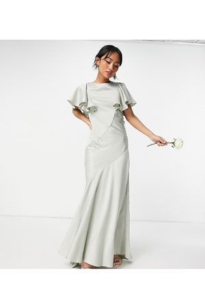 ASOS ASOS DESIGN Petite Bridesmaid flutter sleeve satin maxi dress with button side detail-Green