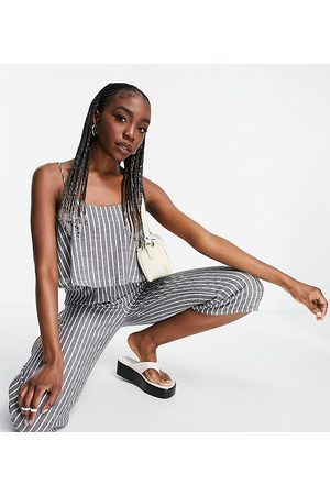 Missguided Ženy Overaly dlouhé - Cami culotte jumpsuit in black stripe-Blue