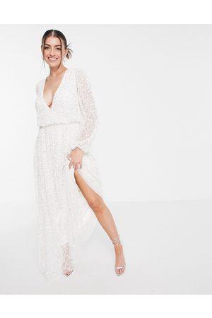 Maya Deep v all over embellished maxi dress in white