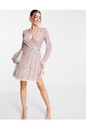 Maya Ženy Na párty - Embellished mini wrap mini dress in frosted pink