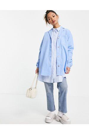 Wåven Oversized denim pj style shirt in sky blue
