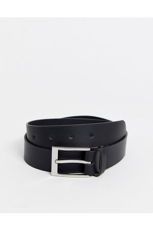 ASOS Leather silver buckle waist and hip jeans belt-Black