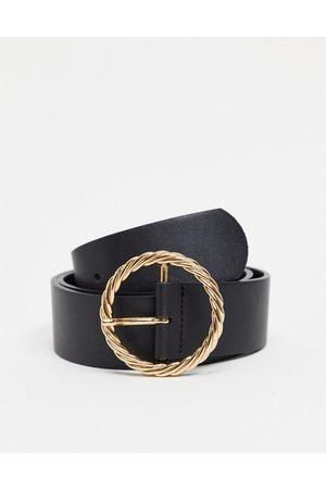 ASOS Gold twist buckle waist and hip jeans belt-Black