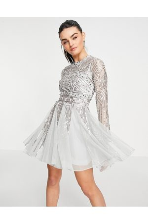 ASOS Ženy Na párty - Long sleeve mini dress with gem and sequin embellishment in Sage-Green