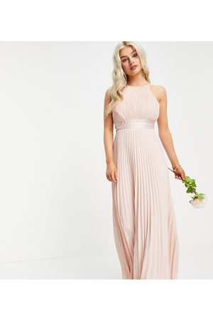 ASOS Petite Bridesmaid pleated pinny maxi dress with satin wrap waist-Pink