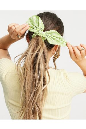 ASOS Bow hair scarf in green floral print-Multi