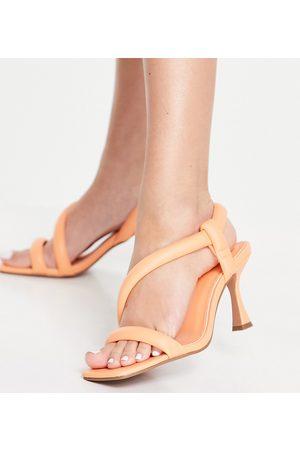 ASOS Ženy S otevřenou špičkou - Wide Fit Hanson padded mid heeled sandals in peach-Orange