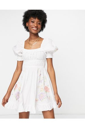 ASOS Cotton poplin mini skater dress with floral embroidery in white