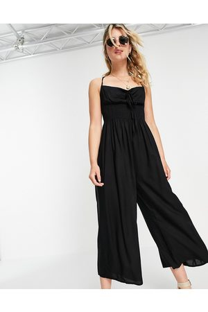 ASOS DESIGN Ženy Overaly dlouhé - Tie front shirred waist culotte jumpsuit in black