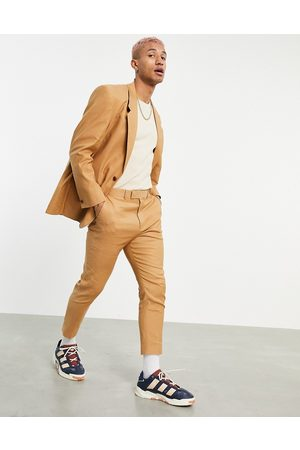 ASOS Muži Společenské - Tapered suit trousers in tobacco linen mix-Brown
