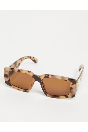 ASOS Recycled frame milky tort mid square sunglasses with temple detail-Brown