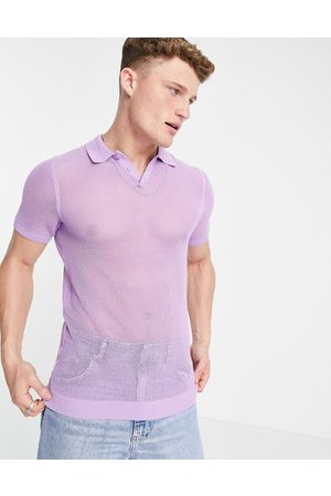 ASOS Muži S límečkem - Knitted muscle fit mesh polo t-shirt in lilac-Purple