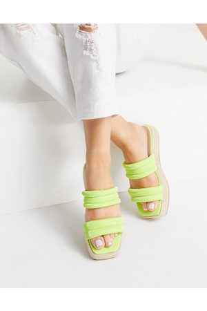 ASOS Ženy Espadrilky - Jumble padded espadrille mules in chartreuse-Green