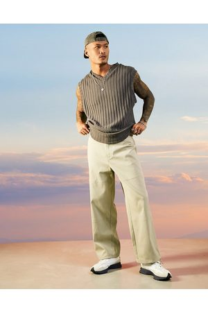 ASOS Wide fit trousers in rib texture in beige-Neutral
