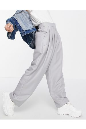 ASOS Ženy Rovné nohavice - Exagerated mom trouser in grey