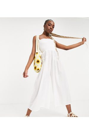 ASOS ASOS DESIGN tall shirred elastic back jumpsuit in white