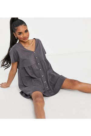 ASOS ASOS DESIGN Petite button through mini smock dress in slate grey