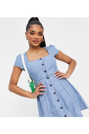 ASOS Ženy Šaty - ASOS DESIGN Petite soft denim square neck tea dress in midwash-Blue