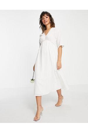 VILA Ženy Midi - Bridal midi dress with empire waistline and v neck in white