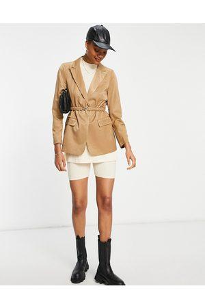 VILA Tailored suit blazer in camel-Brown
