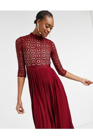 Little Mistress 2 in 1 crochet lace dress with pleated skirt in oxblood-Red