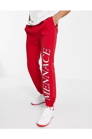 Mennace Muži Tepláky - Joggers co-ord in red with logo placement print