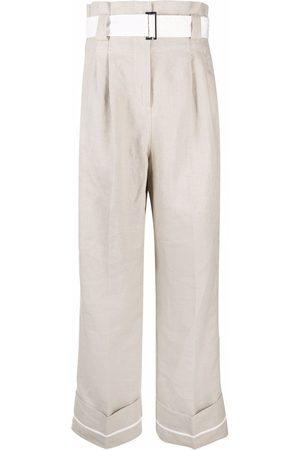 Ganni Pleat-detail wide-leg trousers