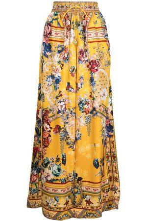 Camilla Floral wide-leg silk trousers