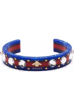 Gucci Crystal-embellished Web cuff bracelet