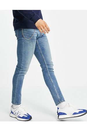 New Look Muži Skinny - Skinny jeans with chain in mid washed blue