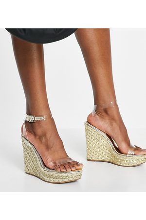 ASOS Ženy Na klínku - Wide Fit Tula espadrille wedges in clear