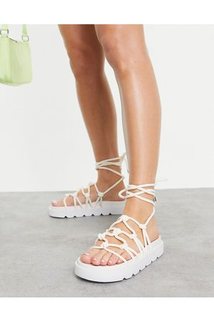 ASOS DESIGN Fizzle chunky rope sandals in white